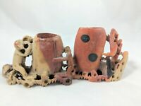 Vintage Chinese Hand Carved Soapstone Figurine Pair with Flower Engravings!