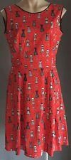 "Vintage Pattern Red/Black/White ""Dressmakers Mannequin"" Print Dress Size 12/14"