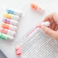 Highlighter Capsules Vitamin Pill Highlight Marker Color Pens 6 Pcs/lot