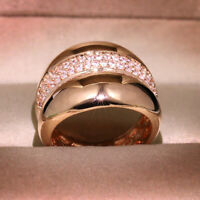Rose Gold Plated Geometric Exaggeration Wide Rings Zircon Eternity Two Row Rings