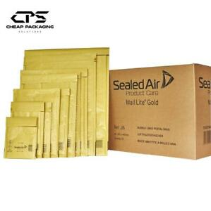CPS Genuine Mail Lite Padded Bubble Mailers Bags - Gold- All Size - Pack of 200