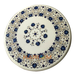 """18"""" Marble White Top Coffee Table Lapis Floral Marquetry Inlay Dining Decor W080"""