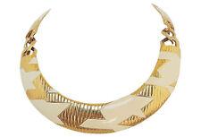 Vintage 1980s Signed Monet Modernist White Enamel Collar Necklace