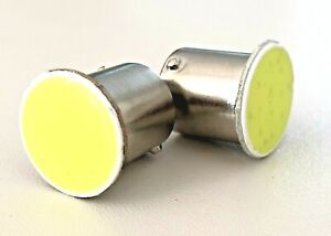 2x Ampoules R10W R5W LED COB 6500K 1156 G18.5 Veilleuses extra blanches 12V