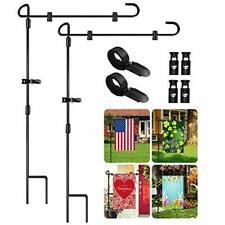 Garden Flag Stand 2 Pack, Iron Metal Garden Flag Pole Holder for Flags, Black 2