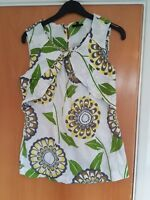 ladies NEXT summer top size 6 white green smart casual