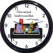 Cats kittens wall clock - One Cat Just Leads to Another cartoon feline Hemingway