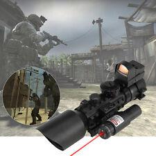 3-10X40EG Crosshair Rifle Scope w/Laser Sight and Red Dot Sight Combo Rail Mount