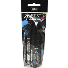 Pebeo 4Artist Marker Oil Based Permanent Paint Pen -Twin Pack 2mm + 8mm Black