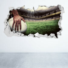 RUGBY WALL STICKER 3D LOOK BOYS KIDS BEDROOM EXTREME SPORT WALL DECAL Z1315
