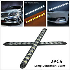 2x Car Daytime Lamp LED Flowing Light Waterproof Strip Turn Signal White & Amber