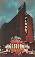 Nevada postcard Las Vegas Fremont Hotel at night Casino gambling