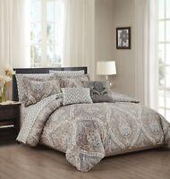 Tisdale 9 Piece Reversible Comforter & Sheet Set Printed Pattern Queen, King
