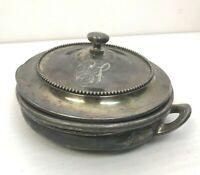 Vintage Quadrupleplate Silver Serving Dish Aged Patina Monogrammed Y Cottage