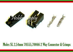 2-Pin 2.54mm 2543 Molex male female connector crimps pin right angle header x 20