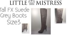 Ladies Tall FX Suede Light Grey BOOTS Size3 by Little Mistress London