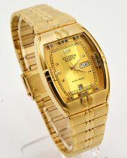 New Citizen Quartz Man`s Day Date Gold Tone  Steel Gold Dial Analog Watch 180M