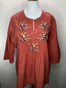 Woman Within 1X Coral Floral Embroidered 3/4!Sleeve Top Blouse Plus Size