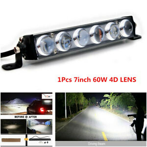 7inch 60W Single Row Slim 4D LENS LED Work Light Bar Spot Beam Offroad Truck SUV