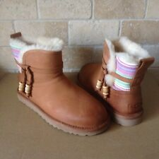 UGG Auburn Serape Chestnut Leather Water-resistant Mini Boots Size US 6 Womens