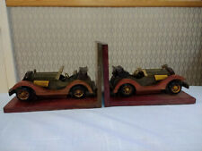 Old Veteran Car Wood Carved Bookends Book Ends