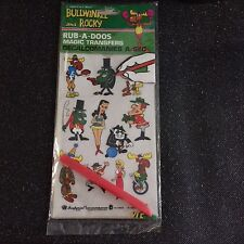 Bullwinkle and Rocky Vintage 1980 Magic Transfers Rub A Doos Unused Decals Boris