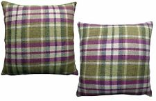 Pack of 2 Check Tartan Style Aubergine & Lime Woven Design Cushion Covers