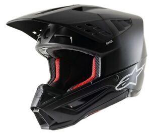 2021 ALPINESTARS S-M5 SM5 HELMET SOLID BLACK MATTE MOTOCROSS OFF ROAD NEW MX BMX