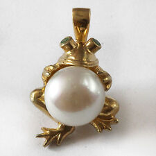 Gold Plated Sterling Silver Frog Pendant with Tsavorite Eyes Holding 10mm Pearl