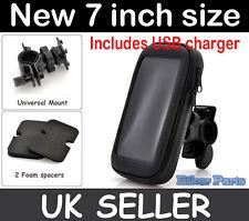 """Waterproof 7""""  Motorbike motorcycle Bike GPS SAT NAV Case Holder USB inc charger"""