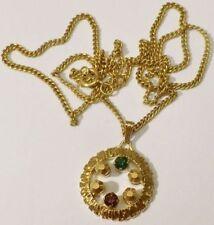 pendentif collier bijou année 70 couleur or solitaire cristaux signé * 5320