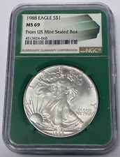 1988 AMERICAN EAGLE 1 OUNCE SILVER DOLLAR NGC MS 69  FROM US MINT SEALED BOX