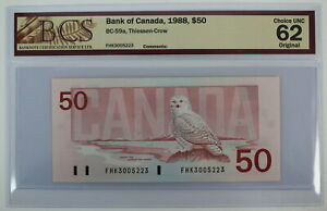 1988 BANK OF CANADA FIFTY DOLLARS FHK 3005223 THIESSEN CROW BC-59a NOTE