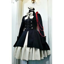Women Vintage Gothic Lolita Dress Button Lace Up Bow Sweet Party Mini Dress Coat