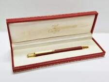 Authentic Red Lacquer Gold Tone Cartier Ballpoint Pen With Box PEN148