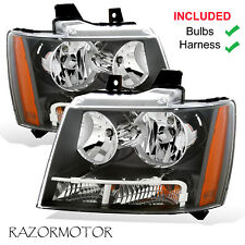 2007-2014 Replacement Headlight Pair For Chevy Suburban/Tahoe/Avalanche W/ Bulb (Fits: Chevrolet)