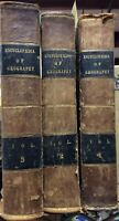 Encyclopedia of Geography 1839 Set of 3 Antique World Books Rare Illustrations
