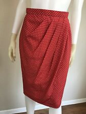 Women's Vintage 1980's Red Polka Dot Draped Sophisticated Pencil Skirt, Size S