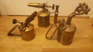 3 BLOW LAMP TORCH TORCHES BRASS MAX SIEVERT, PRI-MUS JOB LOT BUNDLE