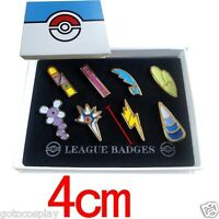 Cosplay POKE Gym Badges in box Unova League Set 8 Badge Pins