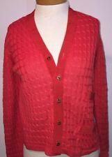 SALVATORE FERRAGAMO Italian CABLE KNIT Cotton SILK Sweater Jumper CARDIGAN S-M