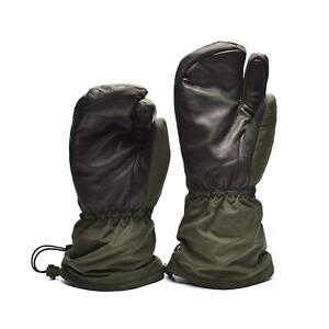 Genuine Danish army trigger finger mittens Syna-Tex gloves OD NEW