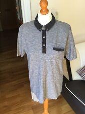 "Men's F&F Soft Polo Shirt U.K. Large Chest 41-43"" Grey & Black Contest 5593"