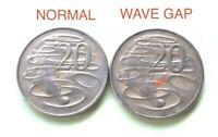 "⚡1966 Australian 20 Cent 🇦🇺""Wave Gap"" Error Coin/Variety Scarce 2 Coin Set💰"