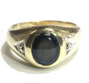14k yellow gold .04ct VS G diamond mens black star sapphire ring 9.9g gents