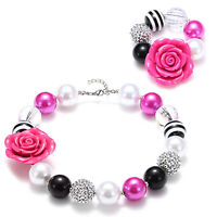 Girl Kids Rose Flower Acylic Beads Chunky Necklace/Bracelet XMS/Birthday Gifts