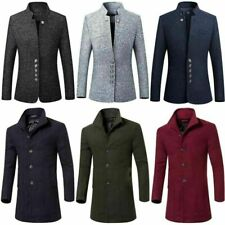 British Overcoat Wool Long Warm Trench Men's Casual Outwear Coat Jacket Winter