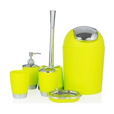 6 piece bathroom accessory set bin toothbrush holder dispenser soap dish tumbler - Bathroom Accessories Lime Green