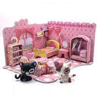 littlest pet shop toys lps cats + puzzle bedroom LPS short hair Cat 2249 & 2291