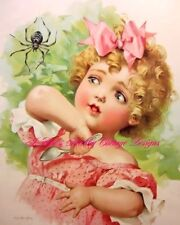 Maud Humphrey Nursery Rhyme Victorian Art Little Miss Muffet Fabric Block 5x7